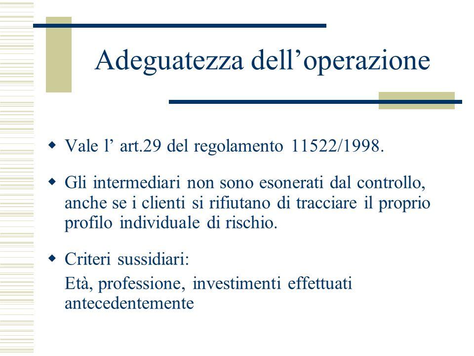 Adeguatezza delloperazione Vale l art.29 del regolamento 11522/1998. Gli intermediari non sono esonerati dal controllo, anche se i clienti si rifiutan