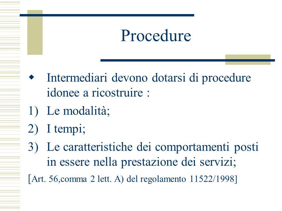 Procedure Intermediari devono dotarsi di procedure idonee a ricostruire : 1)Le modalità; 2)I tempi; 3)Le caratteristiche dei comportamenti posti in es