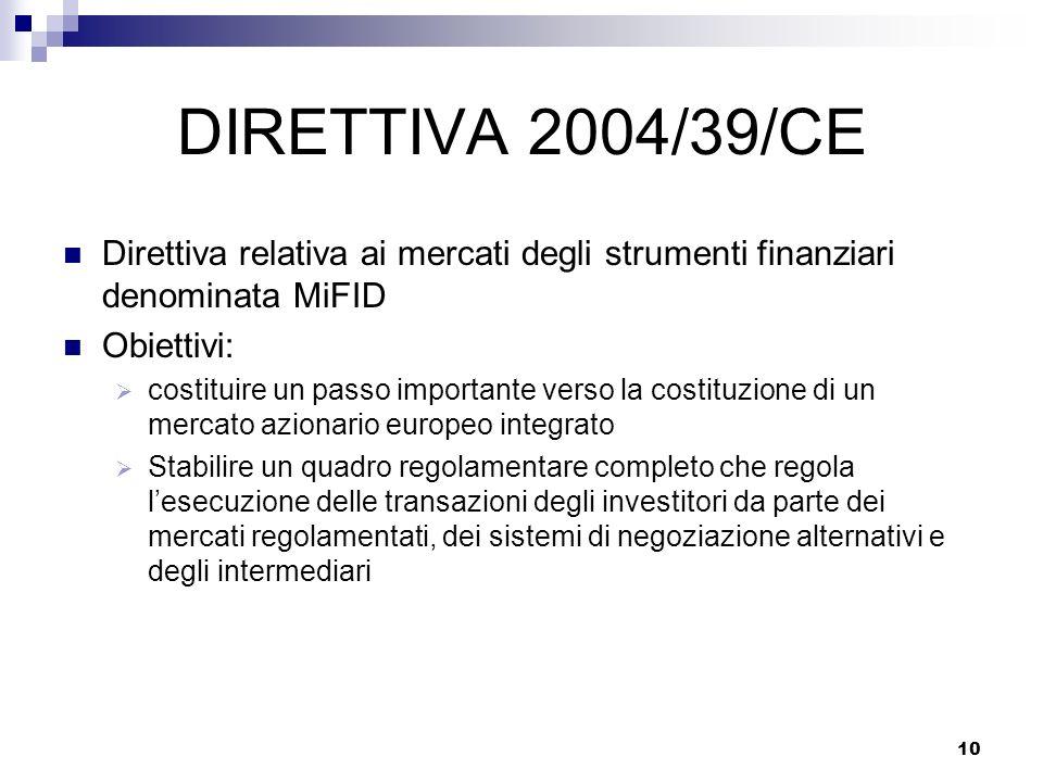 10 DIRETTIVA 2004/39/CE Direttiva relativa ai mercati degli strumenti finanziari denominata MiFID Obiettivi: costituire un passo importante verso la c