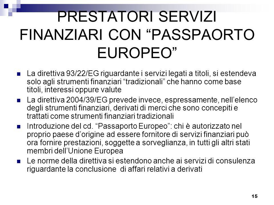 15 PRESTATORI SERVIZI FINANZIARI CON PASSPAORTO EUROPEO La direttiva 93/22/EG riguardante i servizi legati a titoli, si estendeva solo agli strumenti
