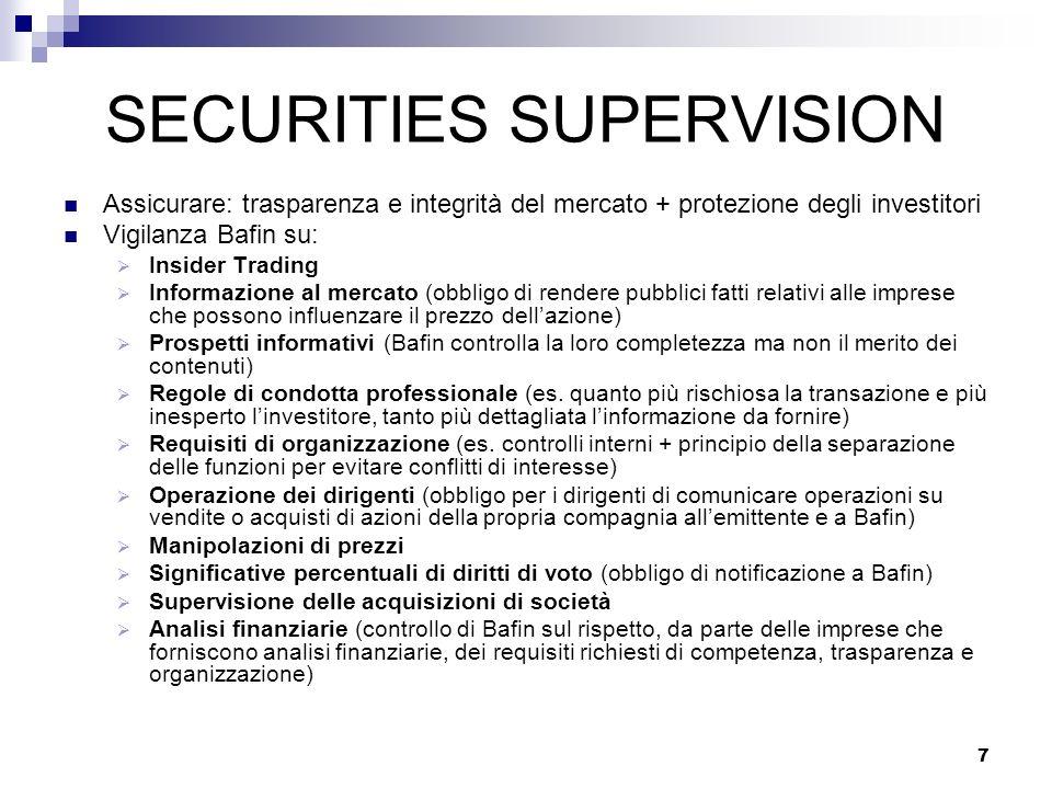 7 SECURITIES SUPERVISION Assicurare: trasparenza e integrità del mercato + protezione degli investitori Vigilanza Bafin su: Insider Trading Informazio