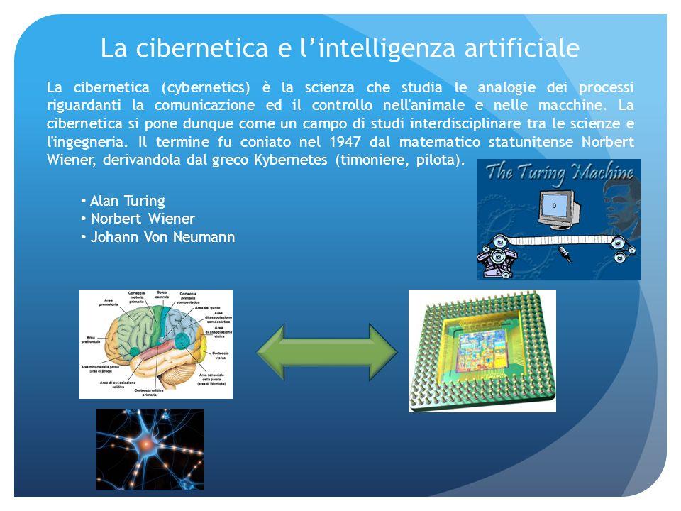 La cibernetica e lintelligenza artificiale La cibernetica (cybernetics) è la scienza che studia le analogie dei processi riguardanti la comunicazione