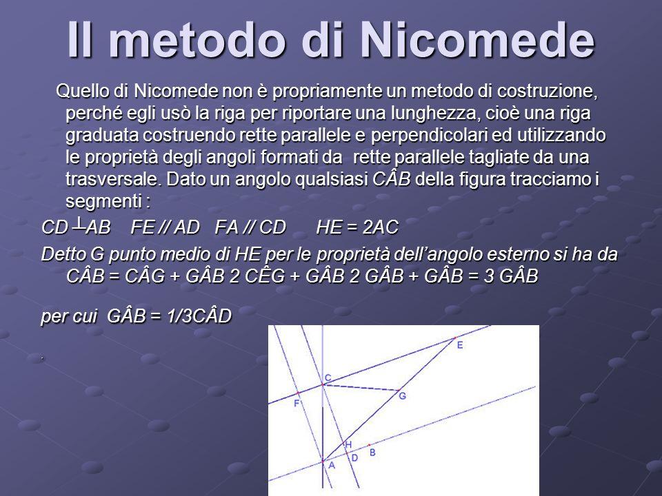 Il metodo di Nicomede Quello di Nicomede non è propriamente un metodo di costruzione, perché egli usò la riga per riportare una lunghezza, cioè una ri