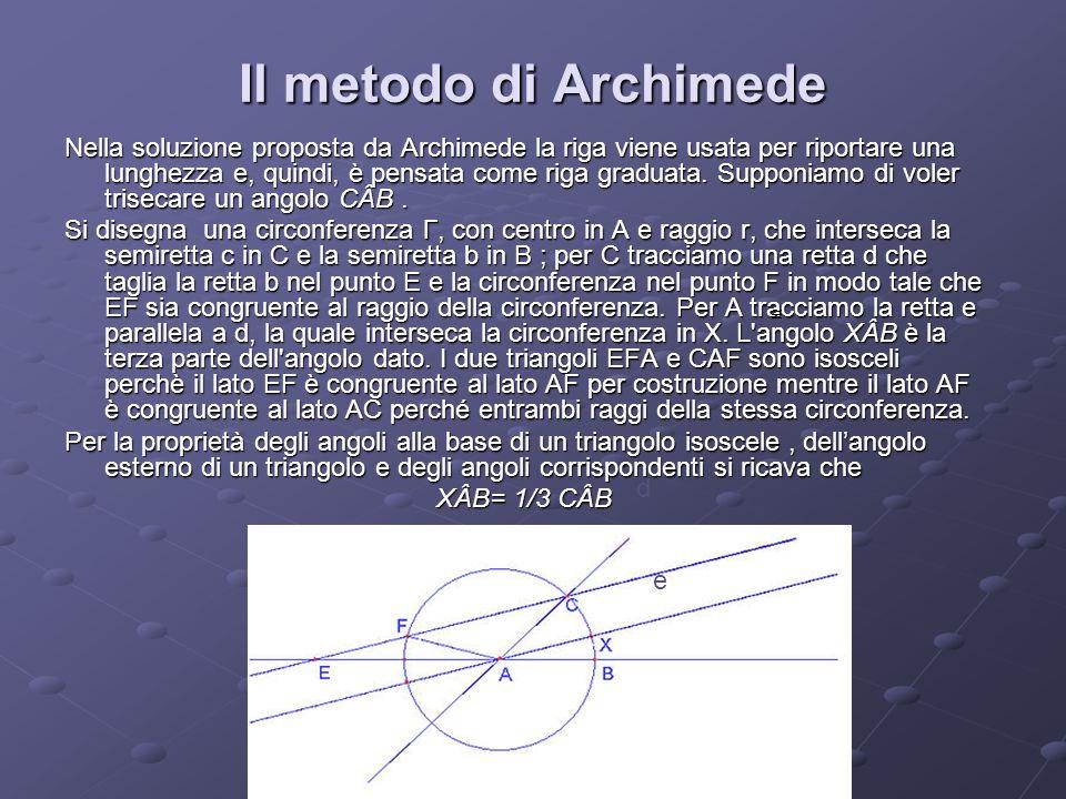 Il metodo di Archimede Nella soluzione proposta da Archimede la riga viene usata per riportare una lunghezza e, quindi, è pensata come riga graduata.