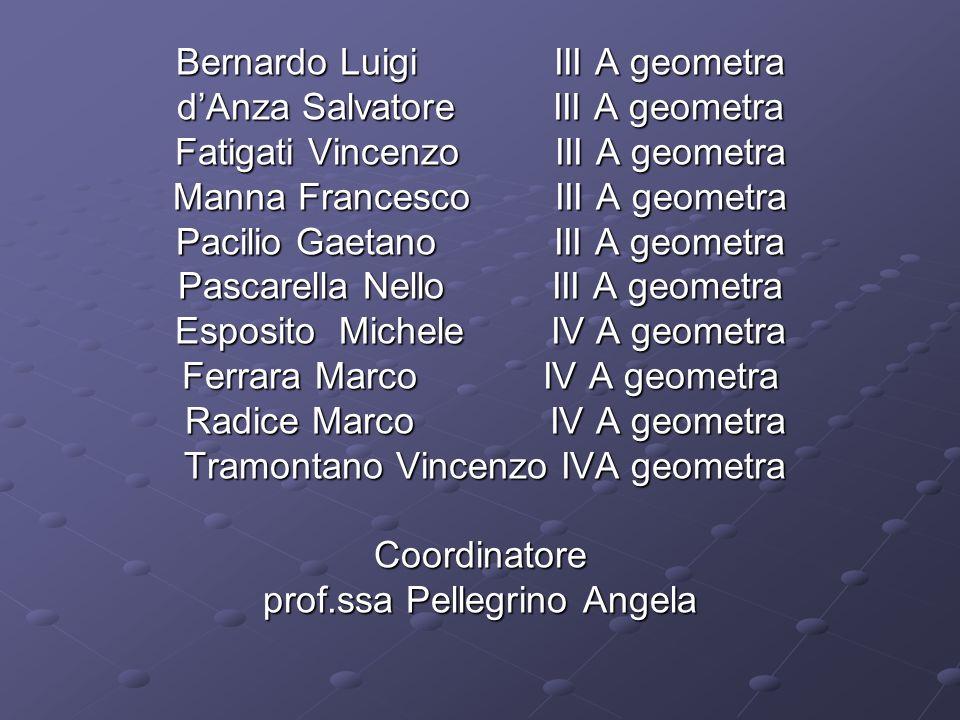 Bernardo Luigi III A geometra dAnza Salvatore III A geometra Fatigati Vincenzo III A geometra Manna Francesco III A geometra Pacilio Gaetano III A geo