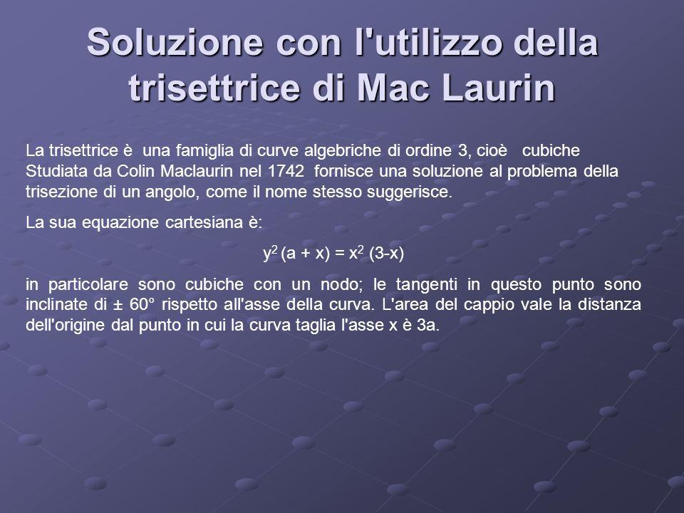 Soluzione con l'utilizzo della trisettrice di Mac Laurin La trisettrice è una famiglia di curve algebriche di ordine 3, cioè cubiche Studiata da Colin