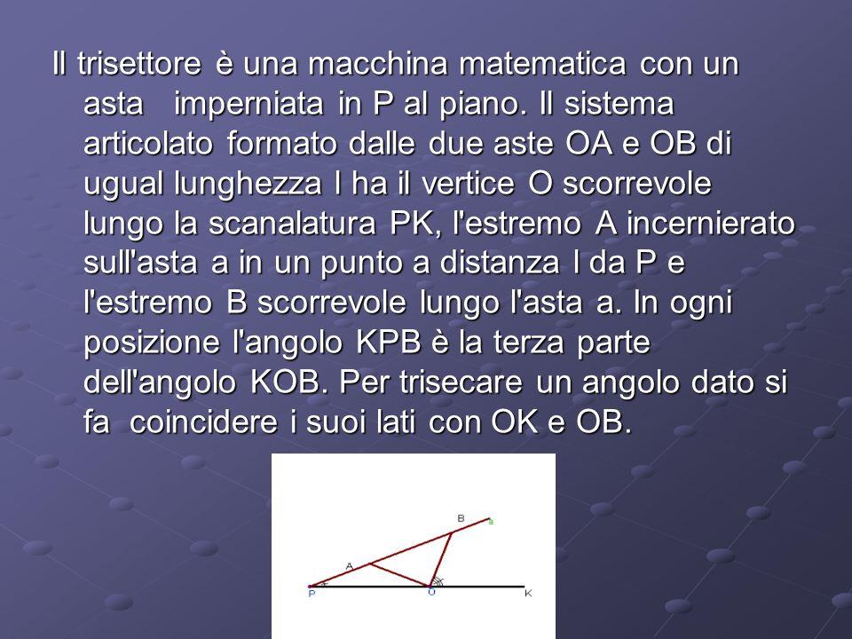 Il trisettore è una macchina matematica con un asta imperniata in P al piano. Il sistema articolato formato dalle due aste OA e OB di ugual lunghezza