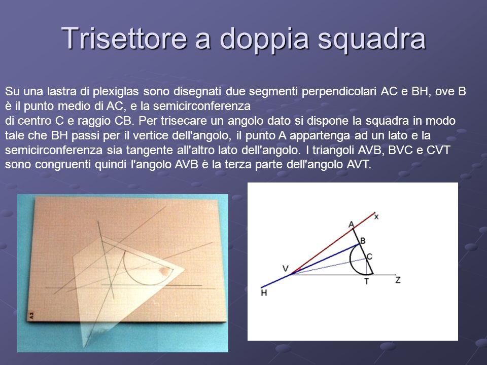 Trisettore a doppia squadra Su una lastra di plexiglas sono disegnati due segmenti perpendicolari AC e BH, ove B è il punto medio di AC, e la semicirc