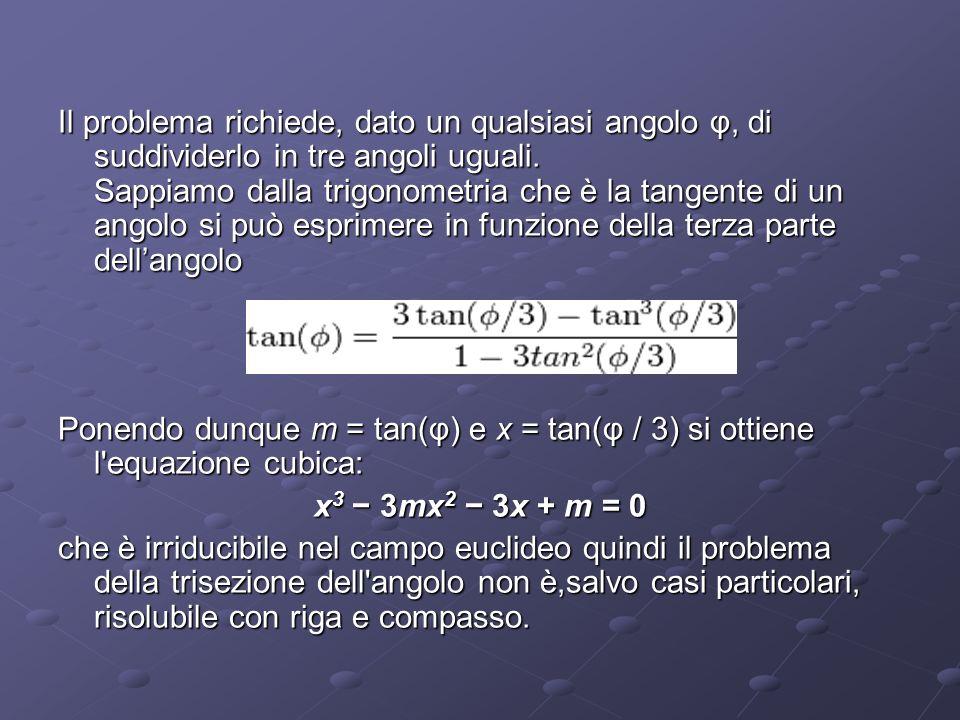 Il problema richiede, dato un qualsiasi angolo φ, di suddividerlo in tre angoli uguali. Sappiamo dalla trigonometria che è la tangente di un angolo si