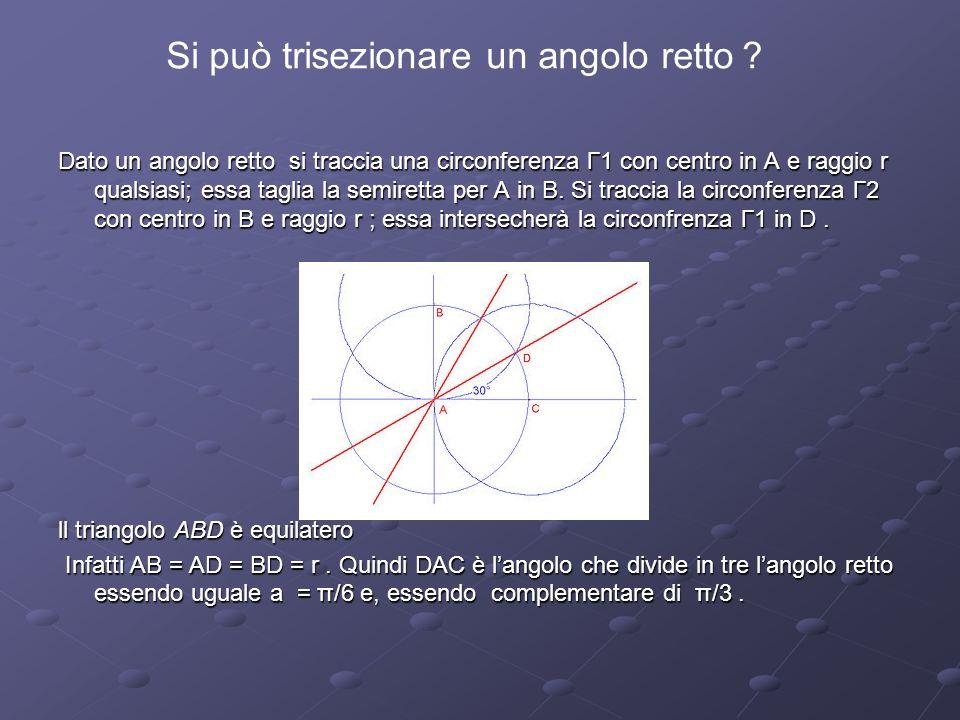Dato un angolo retto si traccia una circonferenza Γ1 con centro in A e raggio r qualsiasi; essa taglia la semiretta per A in B. Si traccia la circonfe