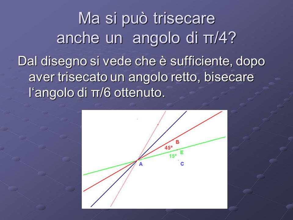Ma si può trisecare anche un angolo di π/4? Dal disegno si vede che è sufficiente, dopo aver trisecato un angolo retto, bisecare langolo di π/6 ottenu