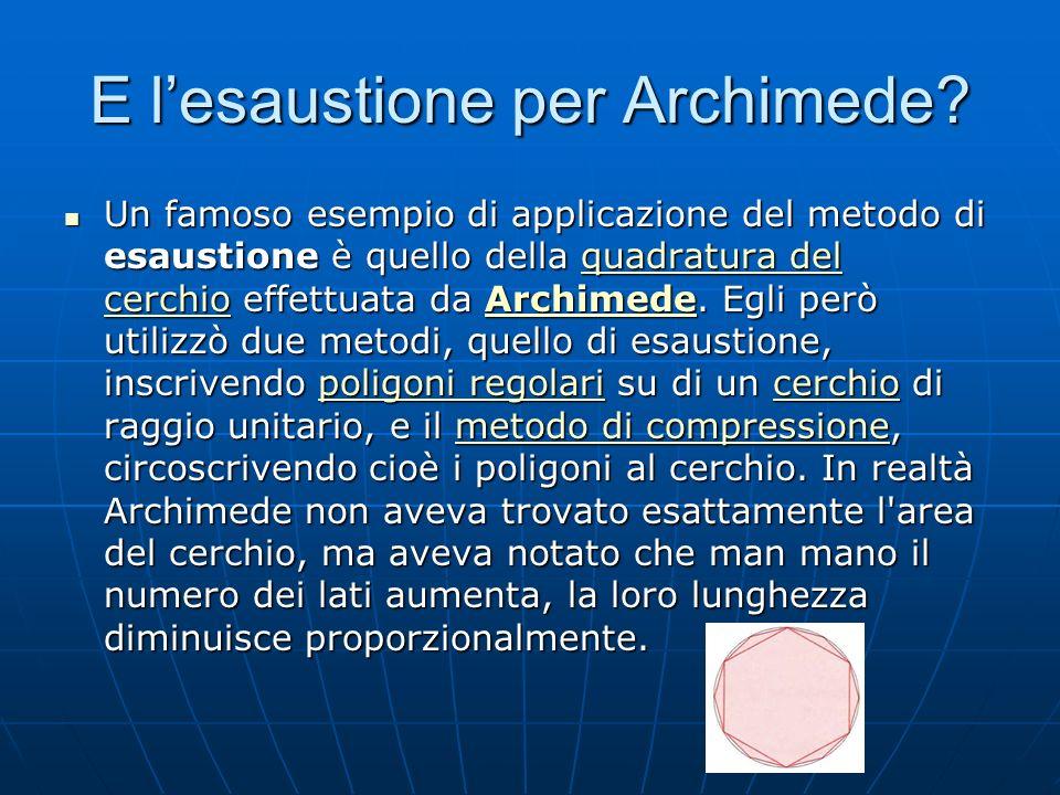 E lesaustione per Archimede? Un famoso esempio di applicazione del metodo di esaustione è quello della quadratura del cerchio effettuata da Archimede.