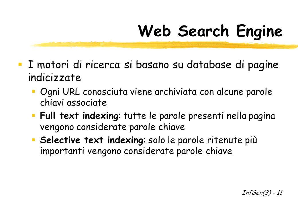 Web Search Engine I motori di ricerca si basano su database di pagine indicizzate Ogni URL conosciuta viene archiviata con alcune parole chiavi associate Full text indexing: tutte le parole presenti nella pagina vengono considerate parole chiave Selective text indexing: solo le parole ritenute più importanti vengono considerate parole chiave InfGen(3) - 11