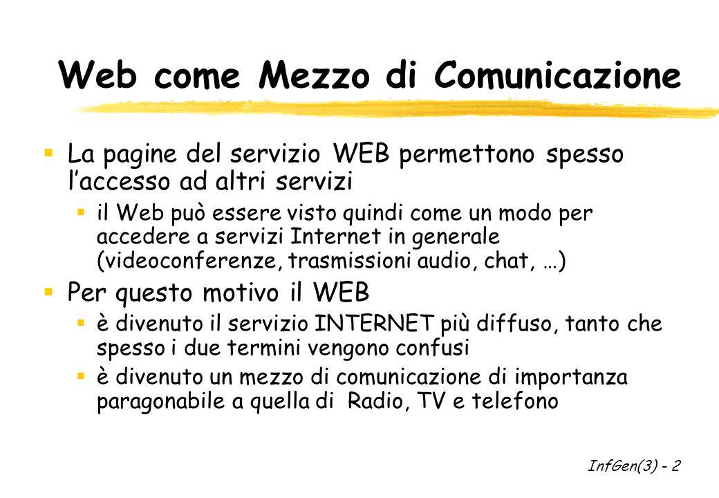 Web come Mezzo di Comunicazione La pagine del servizio WEB permettono spesso laccesso ad altri servizi il Web può essere visto quindi come un modo per accedere a servizi Internet in generale (videoconferenze, trasmissioni audio, chat, …) Per questo motivo il WEB è divenuto il servizio INTERNET più diffuso, tanto che spesso i due termini vengono confusi è divenuto un mezzo di comunicazione di importanza paragonabile a quella di Radio, TV e telefono InfGen(3) - 2