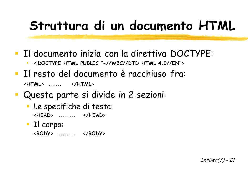 Struttura di un documento HTML Il documento inizia con la direttiva DOCTYPE: Il resto del documento è racchiuso fra:......