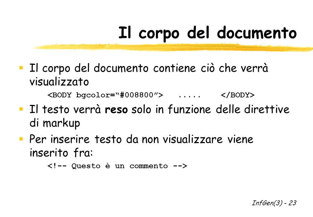 Il corpo del documento Il corpo del documento contiene ciò che verrà visualizzato.....