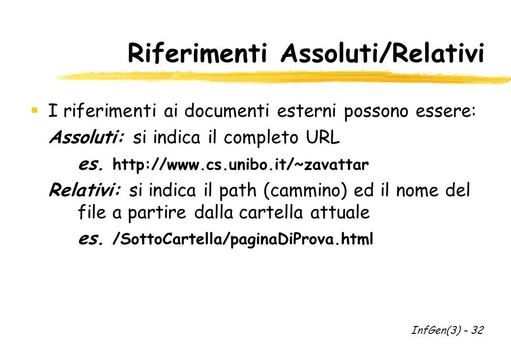 Riferimenti Assoluti/Relativi I riferimenti ai documenti esterni possono essere: Assoluti: si indica il completo URL es.