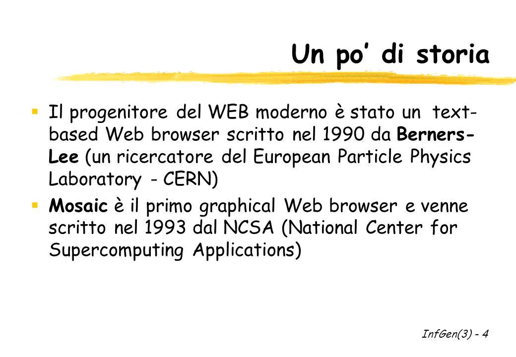 Un po di storia Il progenitore del WEB moderno è stato un text- based Web browser scritto nel 1990 da Berners- Lee (un ricercatore del European Particle Physics Laboratory - CERN) Mosaic è il primo graphical Web browser e venne scritto nel 1993 dal NCSA (National Center for Supercomputing Applications) InfGen(3) - 4