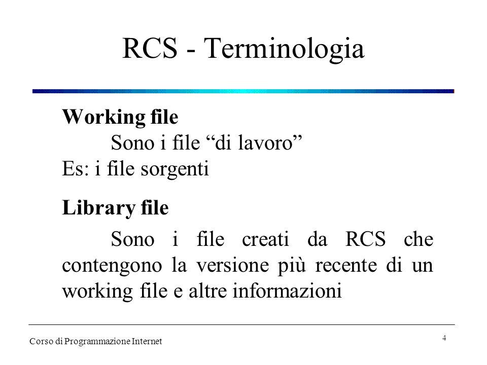 RCS - Terminologia Working file Sono i file di lavoro Es: i file sorgenti Library file Sono i file creati da RCS che contengono la versione più recente di un working file e altre informazioni Corso di Programmazione Internet 4
