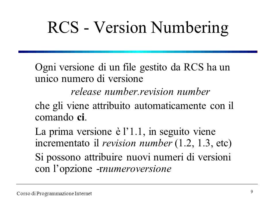 RCS - Version Numbering Ogni versione di un file gestito da RCS ha un unico numero di versione release number.revision number che gli viene attribuito automaticamente con il comando ci.