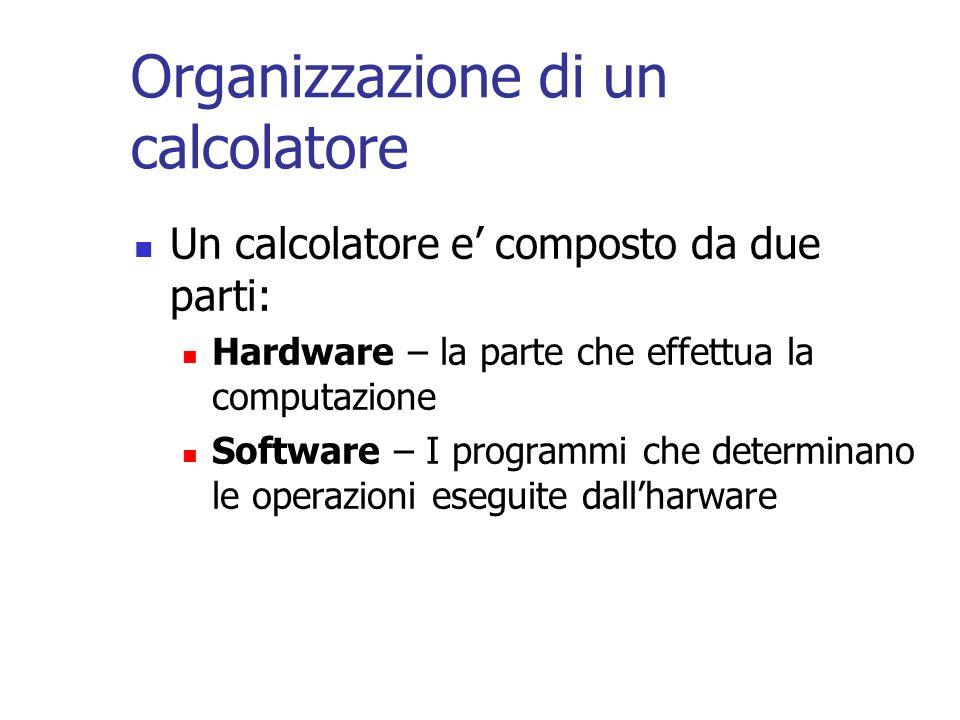 Organizzazione di un calcolatore Un calcolatore e composto da due parti: Hardware – la parte che effettua la computazione Software – I programmi che d