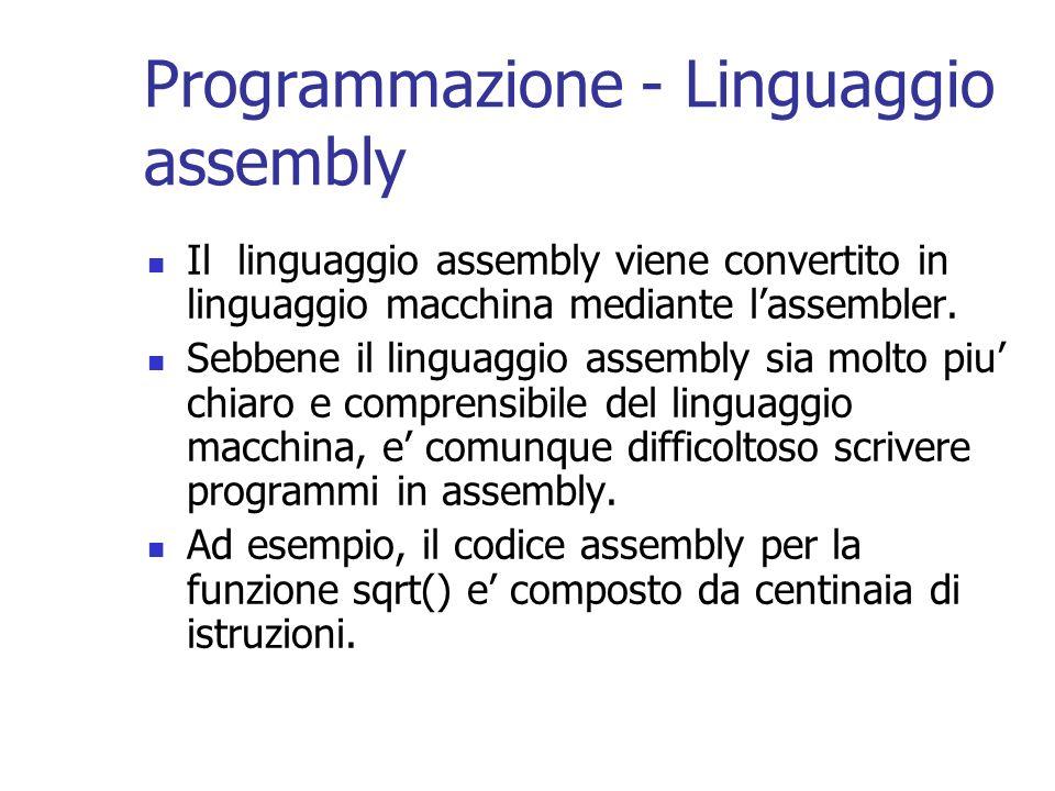 Programmazione - Linguaggio assembly Il linguaggio assembly viene convertito in linguaggio macchina mediante lassembler. Sebbene il linguaggio assembl