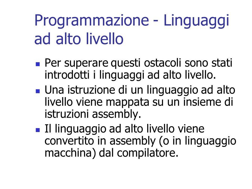 Programmazione - Linguaggi ad alto livello Per superare questi ostacoli sono stati introdotti i linguaggi ad alto livello. Una istruzione di un lingua