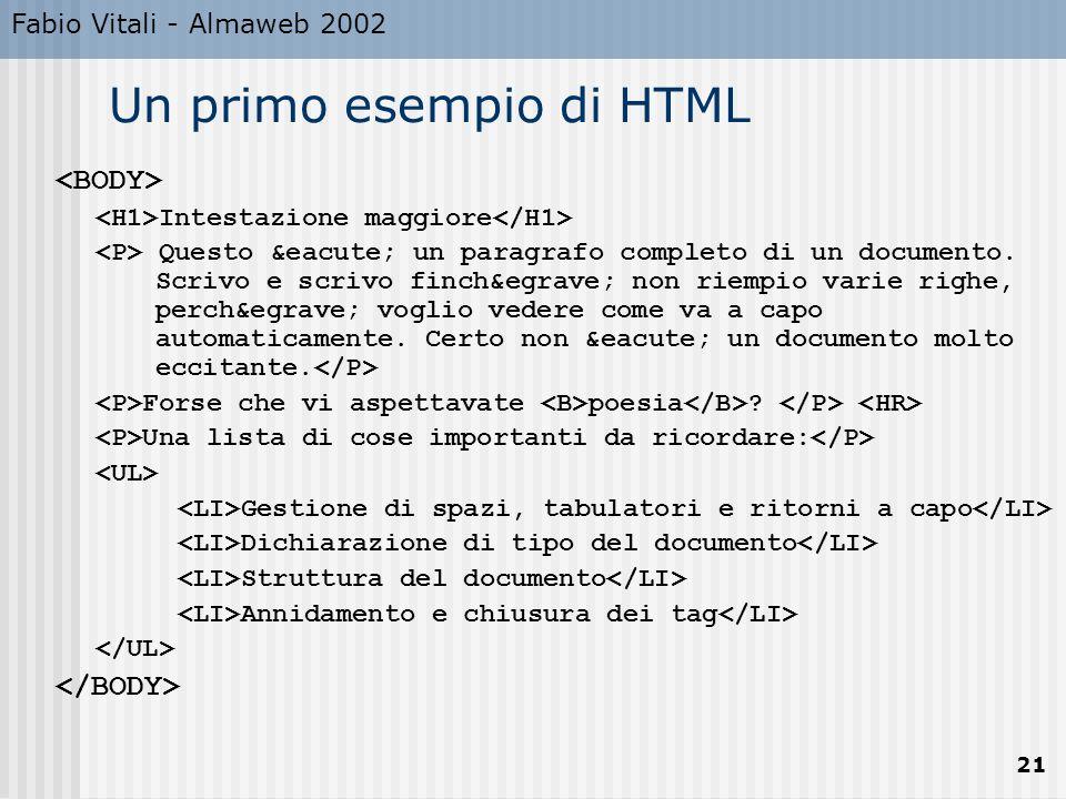Fabio Vitali - Almaweb 2002 21 Un primo esempio di HTML Intestazione maggiore Questo é un paragrafo completo di un documento. Scrivo e scrivo f