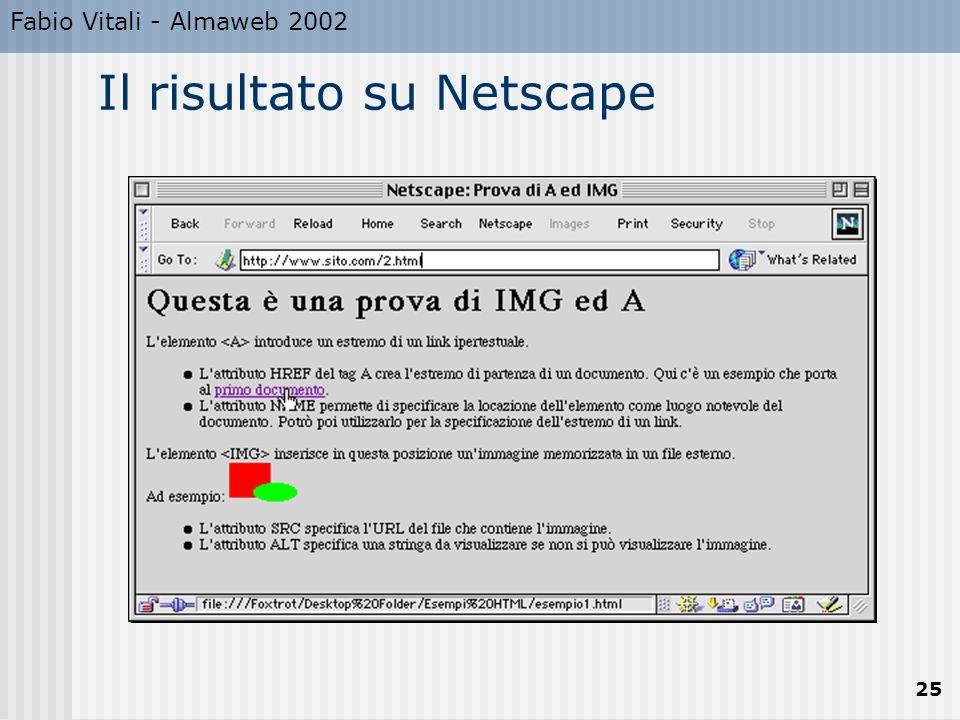 Fabio Vitali - Almaweb 2002 25 Il risultato su Netscape