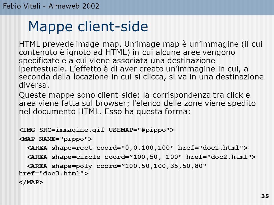 Fabio Vitali - Almaweb 2002 35 Mappe client-side HTML prevede image map. Unimage map è unimmagine (il cui contenuto è ignoto ad HTML) in cui alcune ar