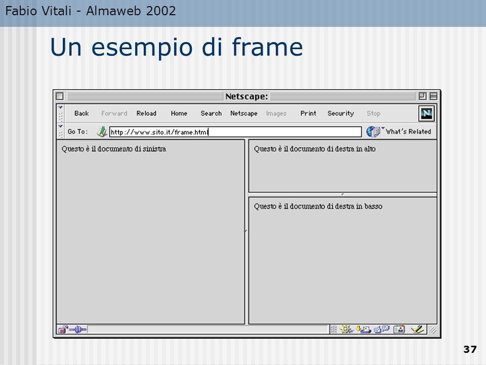 Fabio Vitali - Almaweb 2002 37 Un esempio di frame