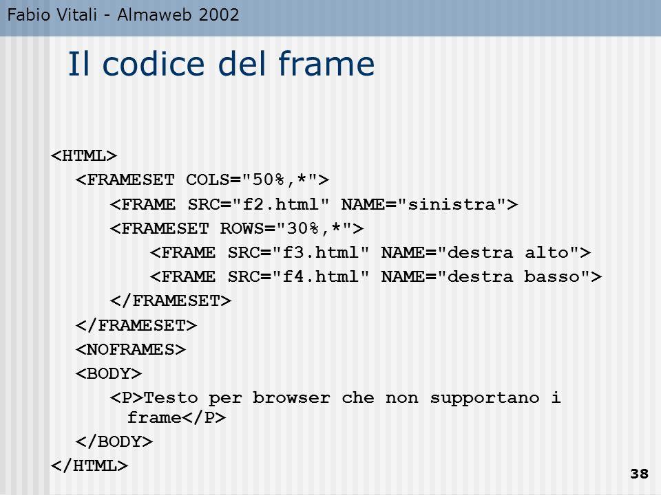 Fabio Vitali - Almaweb 2002 38 Il codice del frame Testo per browser che non supportano i frame