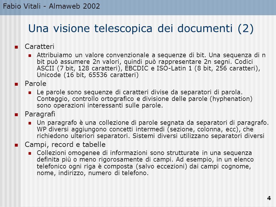 Fabio Vitali - Almaweb 2002 4 Una visione telescopica dei documenti (2) Caratteri Attribuiamo un valore convenzionale a sequenze di bit. Una sequenza