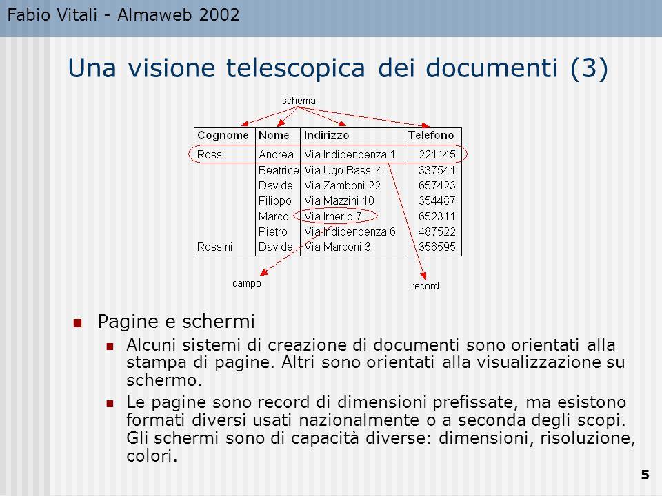 Fabio Vitali - Almaweb 2002 5 Una visione telescopica dei documenti (3) Pagine e schermi Alcuni sistemi di creazione di documenti sono orientati alla