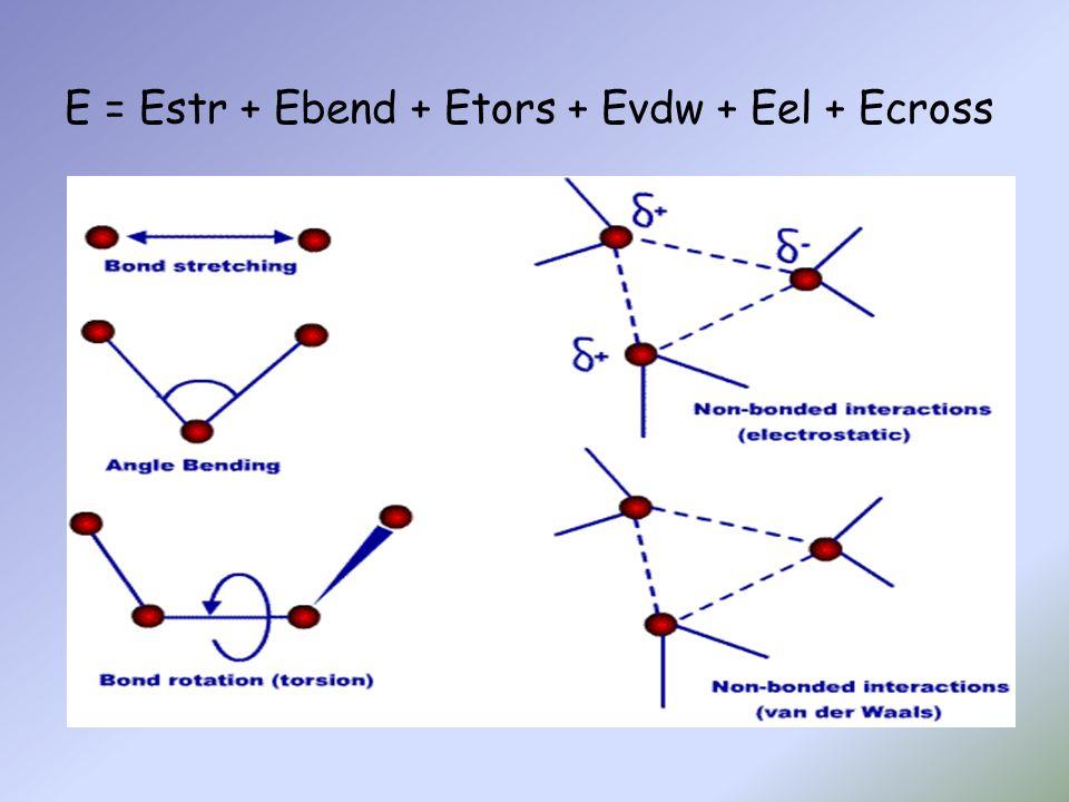E = Estr + Ebend + Etors + Evdw + Eel + Ecross