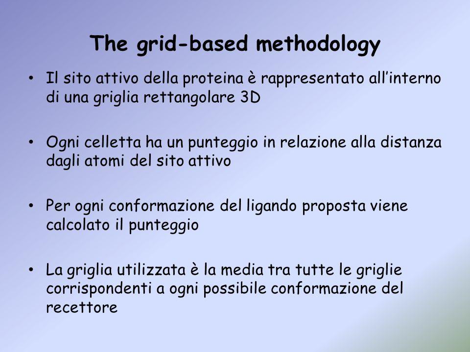 The grid-based methodology Il sito attivo della proteina è rappresentato allinterno di una griglia rettangolare 3D Ogni celletta ha un punteggio in re