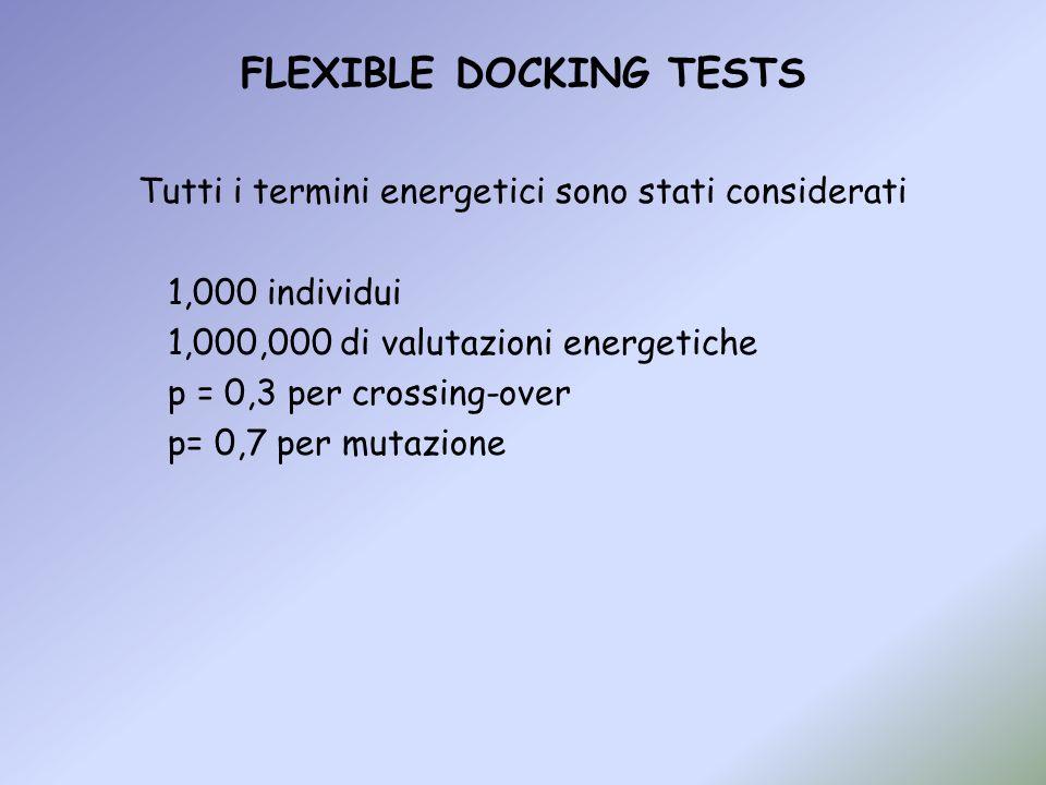 FLEXIBLE DOCKING TESTS Tutti i termini energetici sono stati considerati 1,000 individui 1,000,000 di valutazioni energetiche p = 0,3 per crossing-ove