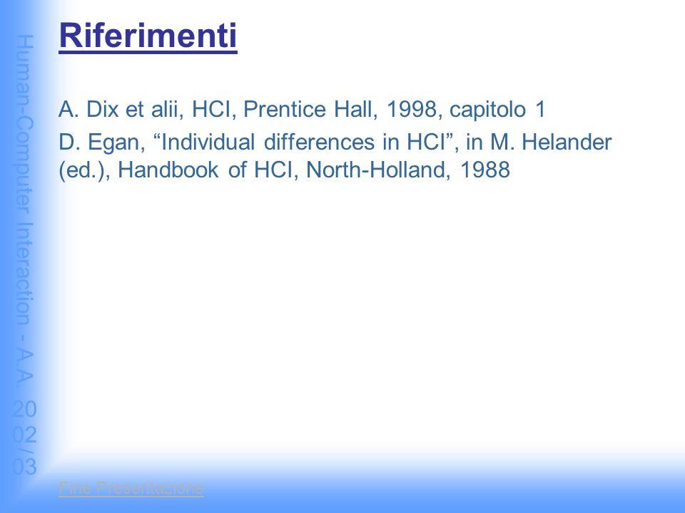 Human-Computer Interaction - A.A. 2002/03 Fine Presentazione Riferimenti A.