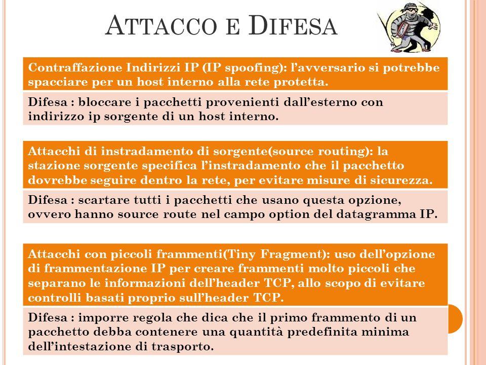 A TTACCO E D IFESA Contraffazione Indirizzi IP (IP spoofing): lavversario si potrebbe spacciare per un host interno alla rete protetta. Difesa : blocc