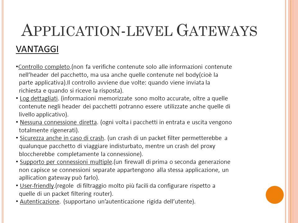 A PPLICATION - LEVEL G ATEWAYS VANTAGGI Controllo completo.(non fa verifiche contenute solo alle informazioni contenute nellheader del pacchetto, ma u