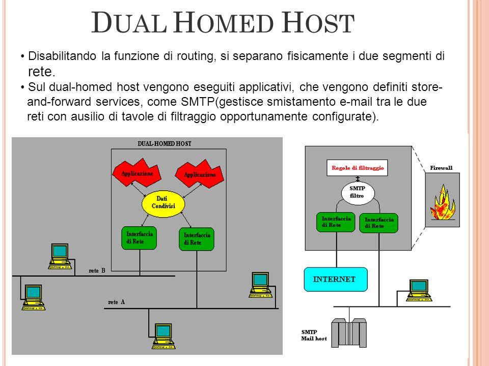 D UAL H OMED H OST Disabilitando la funzione di routing, si separano fisicamente i due segmenti di rete. Sul dual-homed host vengono eseguiti applicat