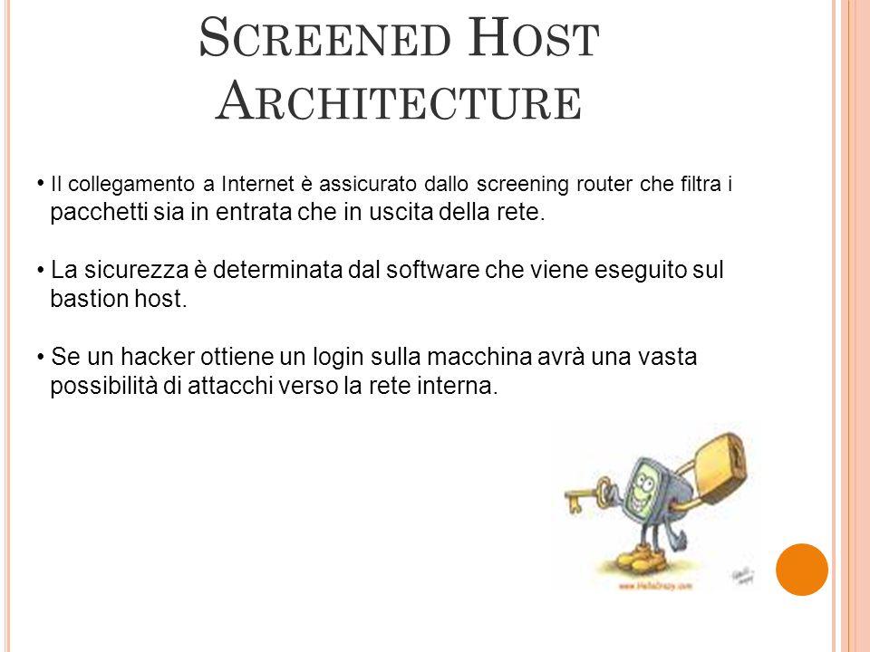 Il collegamento a Internet è assicurato dallo screening router che filtra i pacchetti sia in entrata che in uscita della rete. La sicurezza è determin