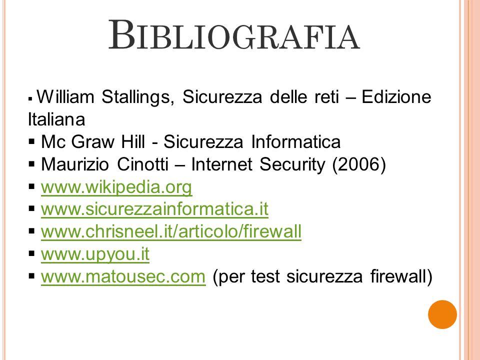 B IBLIOGRAFIA William Stallings, Sicurezza delle reti – Edizione Italiana Mc Graw Hill - Sicurezza Informatica Maurizio Cinotti – Internet Security (2