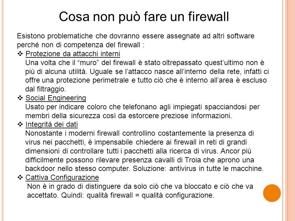 Cosa non può fare un firewall Esistono problematiche che dovranno essere assegnate ad altri software perché non di competenza del firewall : Protezion