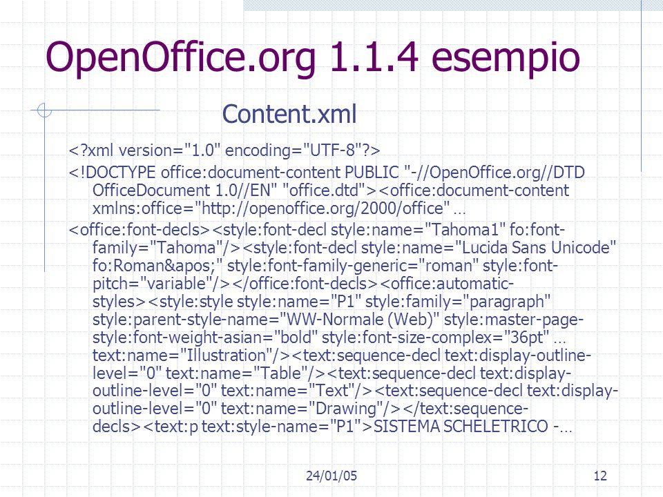 24/01/0512 OpenOffice.org 1.1.4 esempio <office:document-content xmlns:office= http://openoffice.org/2000/office … SISTEMA SCHELETRICO -… Content.xml