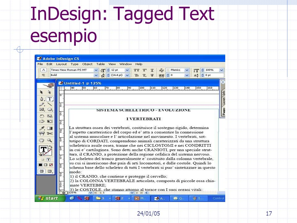 24/01/0517 InDesign: Tagged Text esempio