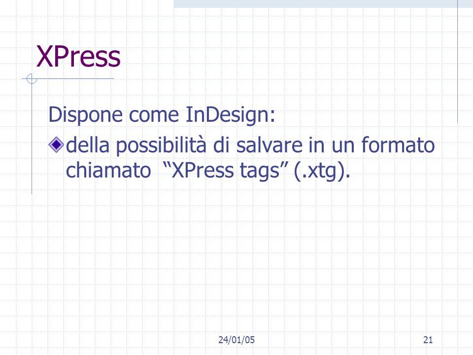 24/01/0521 XPress Dispone come InDesign: della possibilità di salvare in un formato chiamato XPress tags (.xtg).
