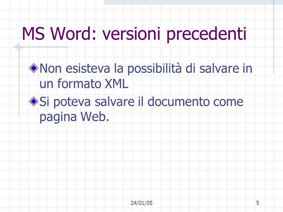 24/01/055 MS Word: versioni precedenti Non esisteva la possibilità di salvare in un formato XML Si poteva salvare il documento come pagina Web.