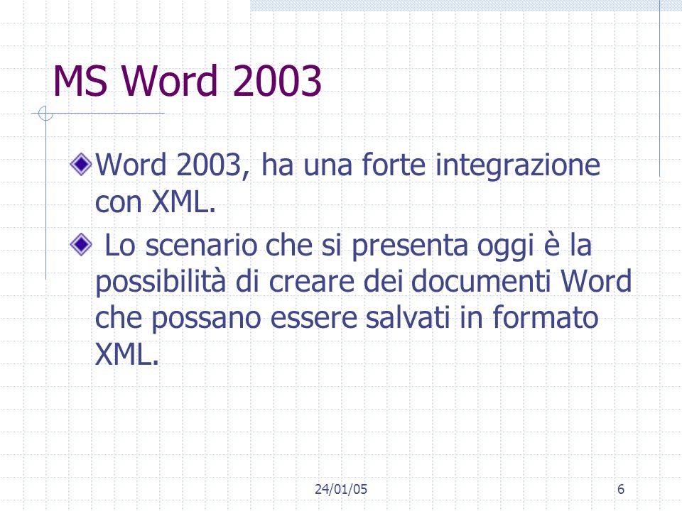 24/01/056 MS Word 2003 Word 2003, ha una forte integrazione con XML.
