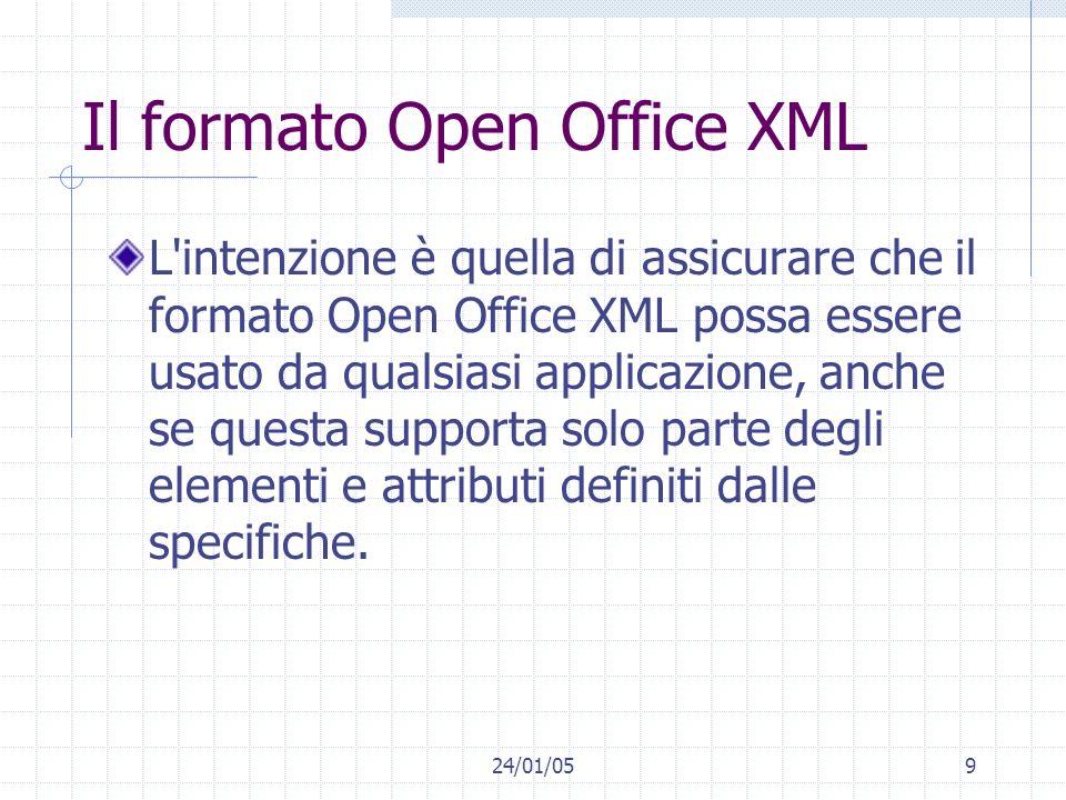 24/01/059 Il formato Open Office XML L intenzione è quella di assicurare che il formato Open Office XML possa essere usato da qualsiasi applicazione, anche se questa supporta solo parte degli elementi e attributi definiti dalle specifiche.